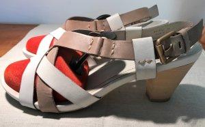 Geox Respira Sandalias de tacón de tiras blanco-marrón arena Cuero