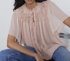 Zara Bluzka oversize jasny różowy