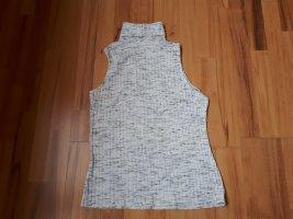 H&M Top con colletto arrotolato bianco-grigio