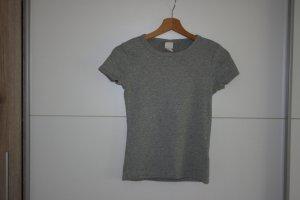 H&M Basic Geribd shirt lichtgrijs