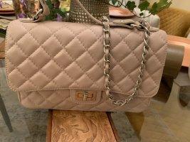 Gesteppte Lederhandtasche made in Italy in zartrosa