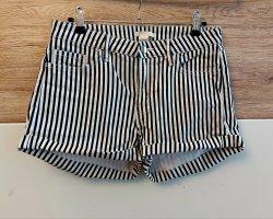 H&M DENIM Hot Pants white-dark blue