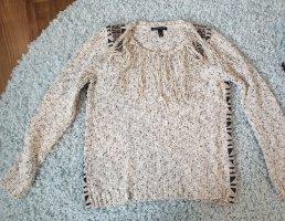 Mango collection Pull tricoté noir-blanc cassé