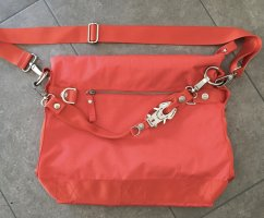 George Gina & Lucy Shoulder Bag bright red-silver-colored nylon