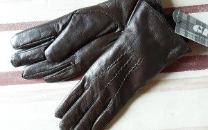 Gants en cuir brun foncé