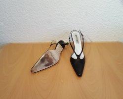 Gianna Meliani High Heels Pumps Damenschuhe Fersenriemchen Gr. 39 - 9 cm Absätze schwarz