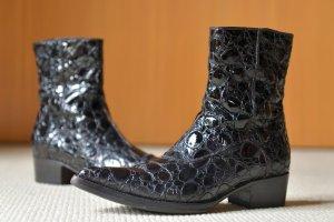GIANNI BARBATO 36,5 37 Boots Westernboots Stiefeletten Schwarz Krokodil Leder Cowboy