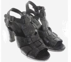 Plateauzool Sandalen met Hoge Hakken zwart Leer