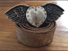 Ceinture en cuir brun-argenté