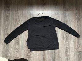 Gina Tricot Pullover Oberteil Schlitz seitlich streifen Brust transparent schwarz