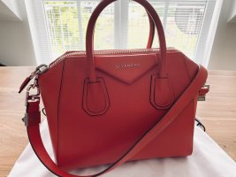 Givenchy Bolso barrel rojo-color plata Cuero