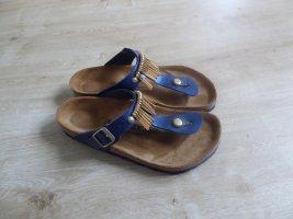 Birkenstock Japonki złoto-niebieski Skóra