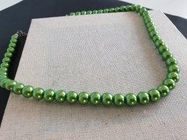 Collar de perlas verde neón-verde bosque