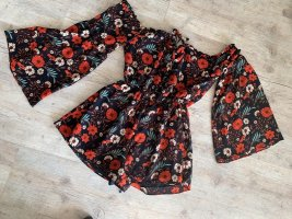 Glamorous Jumpsuite/Shorts - OffShoulder - Black/Orange - Flower - Größe XS 32/34
