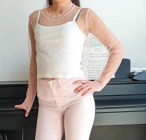 Glamorous pinkes Tüll Oberteil blush Bluse Rosa transparent Spitzen Top shirt langärmig