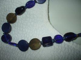 Vintage Collana di perle blu scuro-oro