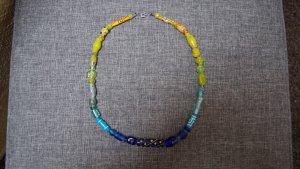 #Glasperlenkette, #grün, #blau, #handbemalt