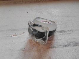 Glasring Ring Schwarz Weiß Gr. 18mm