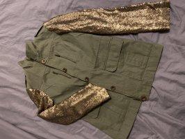 BODY FLIRT Kurtka przejściowa khaki-złoto Tkanina z mieszanych włókien