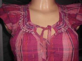 Glitzernde Bluse mit Stickereien, unten Gummibund, neuw. Gr. 38/40