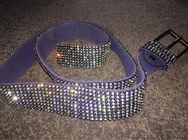 Cinturón de pinchos azul acero-color plata