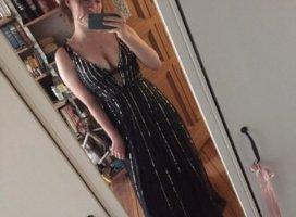 Lace & Beads Suknia balowa czarny-srebrny Elastan