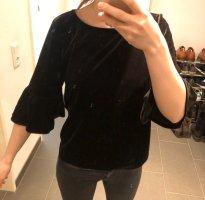 Glockenärmel Sommer Shirt Samtoptik Only
