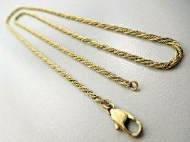 Gold 925 Sterling Flecht Kette Halskette Collier vergoldet Necklace 80cm Lang