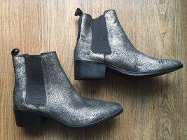 Gold-Silber farbene Chelsea Stiefel aus Leder