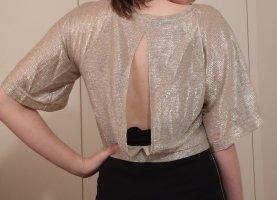 gold-/silber Glitzershirt chic Oberteil edel Empire Partyshirt Rückenausschnitt Cutouts 20er