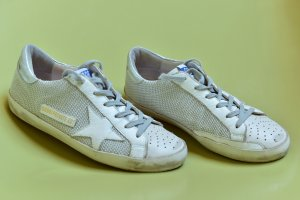 Golden Goose Lace-Up Sneaker white-silver-colored leather