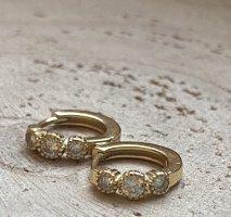 Goldene creolen mit zirkonia steinchen Silber 925 vergoldet
