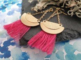 Goldene Halbkreisohrringe Pink Fransen Neu Ohrringe Ohrschmuck