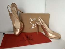 Christian Louboutin Slingback Pumps gold-colored leather