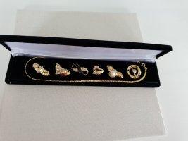 Goldfarbene Kette Sechs Anhänger OVP Halsschmuck Halskette Schmuck