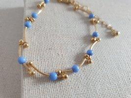 Goldfarbige Armband Blaue Perlen Armschmuck Neu Schmuck