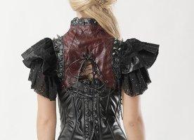 Chaleco de cuero negro-burdeos Imitación de cuero