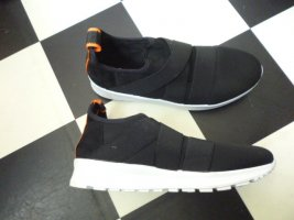 Gr. 38 RIVER ISLAND moderne Slipper Sneaker Halbschuhe Schlüpfschuhe schwarz weiss hoher Neupreis ganz wenig getragen