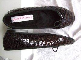 Gr. 39 Paoliballerina 100% Lackleder Black Lammfell Futter New