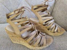 Graceland Deichmann wedges sandalen gr. 38 keilandatz sandaletten beige bronze metallic nude