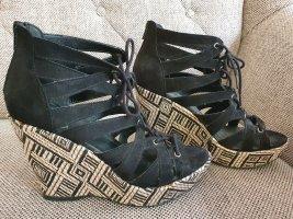 Graceland deichmann wedges sandalen gr. 38 Sandaletten Keilabsatz schwarz beige nude