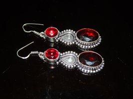 925er Silber Orecchino d'argento rosso-argento Metallo