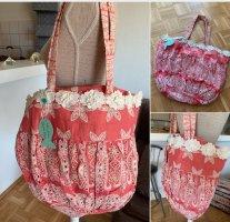 Grande! Große Baumwoll Tasche/Bag - Coral/White - Bestickt