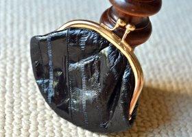 Vintage Portefeuille noir-doré cuir
