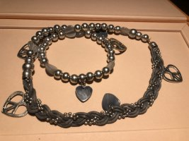 Statement Necklace silver-colored-slate-gray
