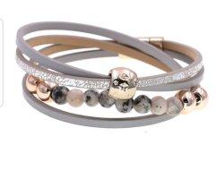Bracelet en cuir argenté-gris clair
