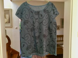 Made in Italy Linen Blouse cornflower blue-slate-gray linen