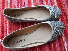 Ballerina's met kant zilver-grijs