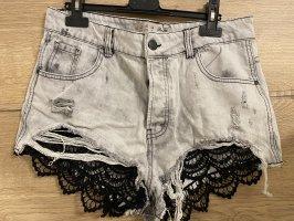Graue Highwaist Jeans mit Spitze