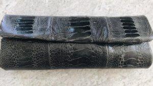 Graue Leder Clutch aus Straußenleder, Rarety Handmade